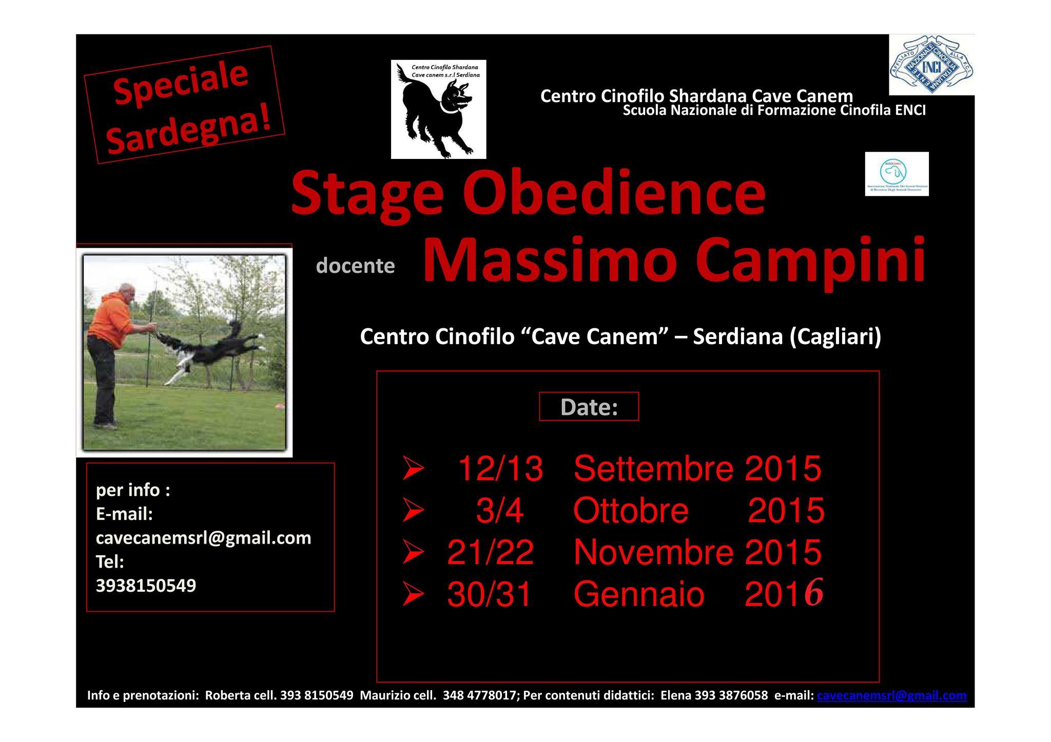 CORSO DI OBEDIENCE CON MASSIMO CAMPINI
