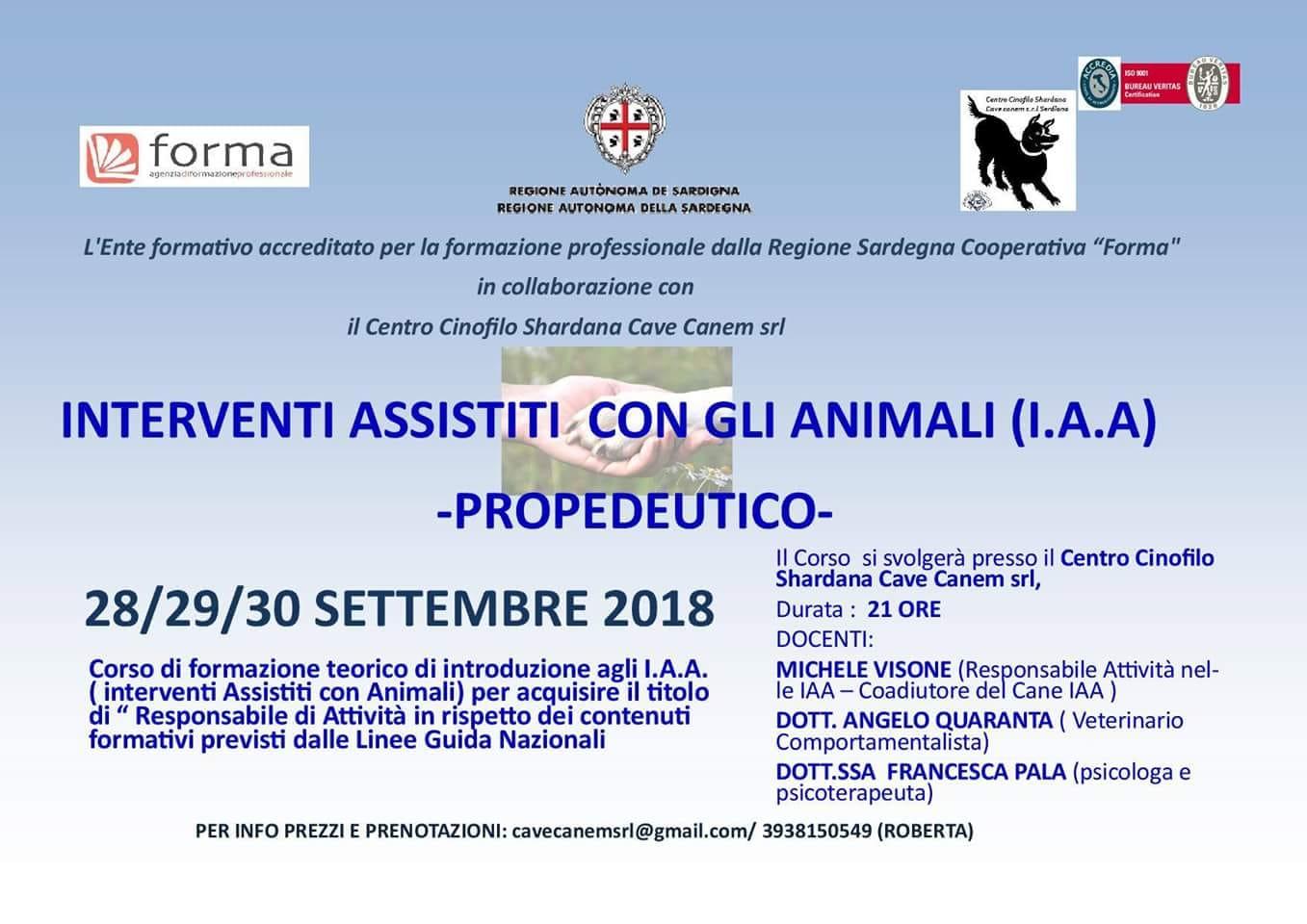 INTERVENTI ASSISTITI CON GLI ANIMALI (I.A.A.) PROPEDEUTICO