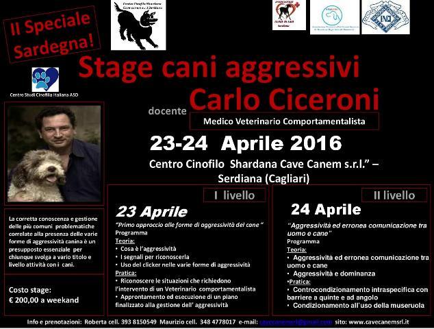 STAGE CANI AGGRESSIVI CON DOTT. CARLO CICERONI